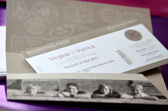 Faire part billet avion photo mariage sur mesure latelierdelsa