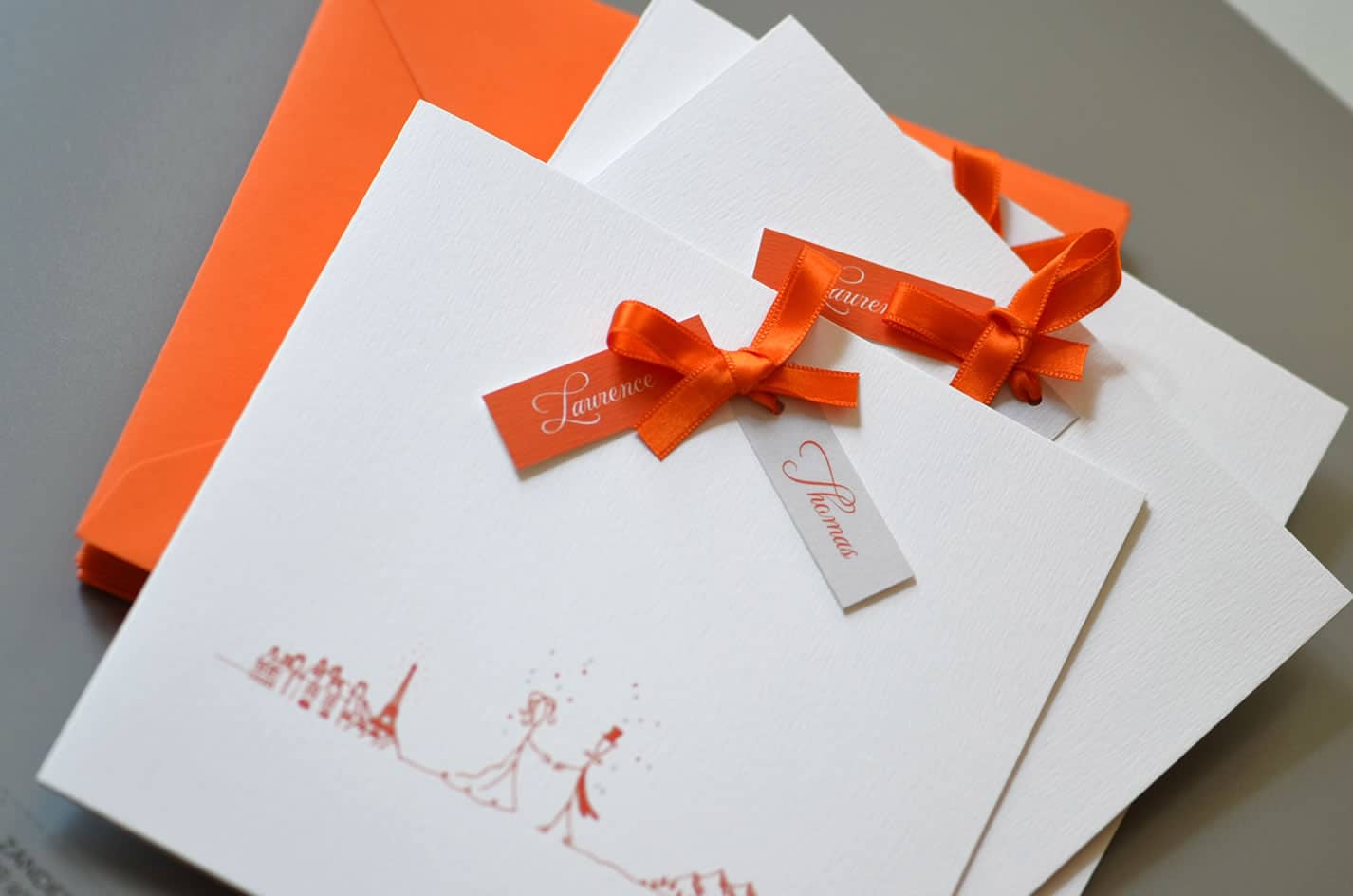 Faire part mariage orange illustration chic latelierdelsa