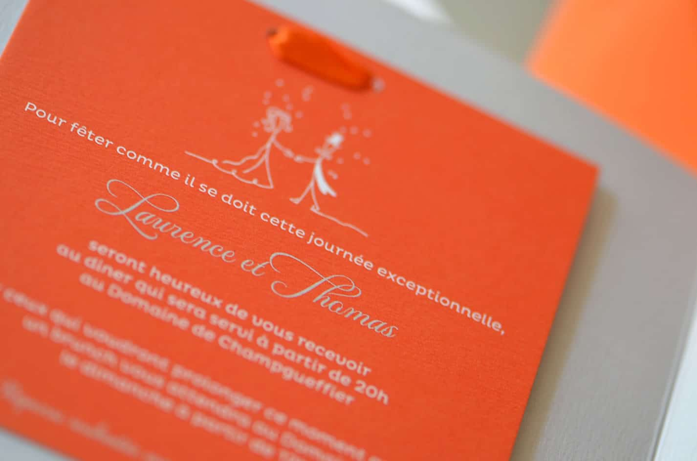 Faire part mariage orange sur mesure chic latelierdelsa