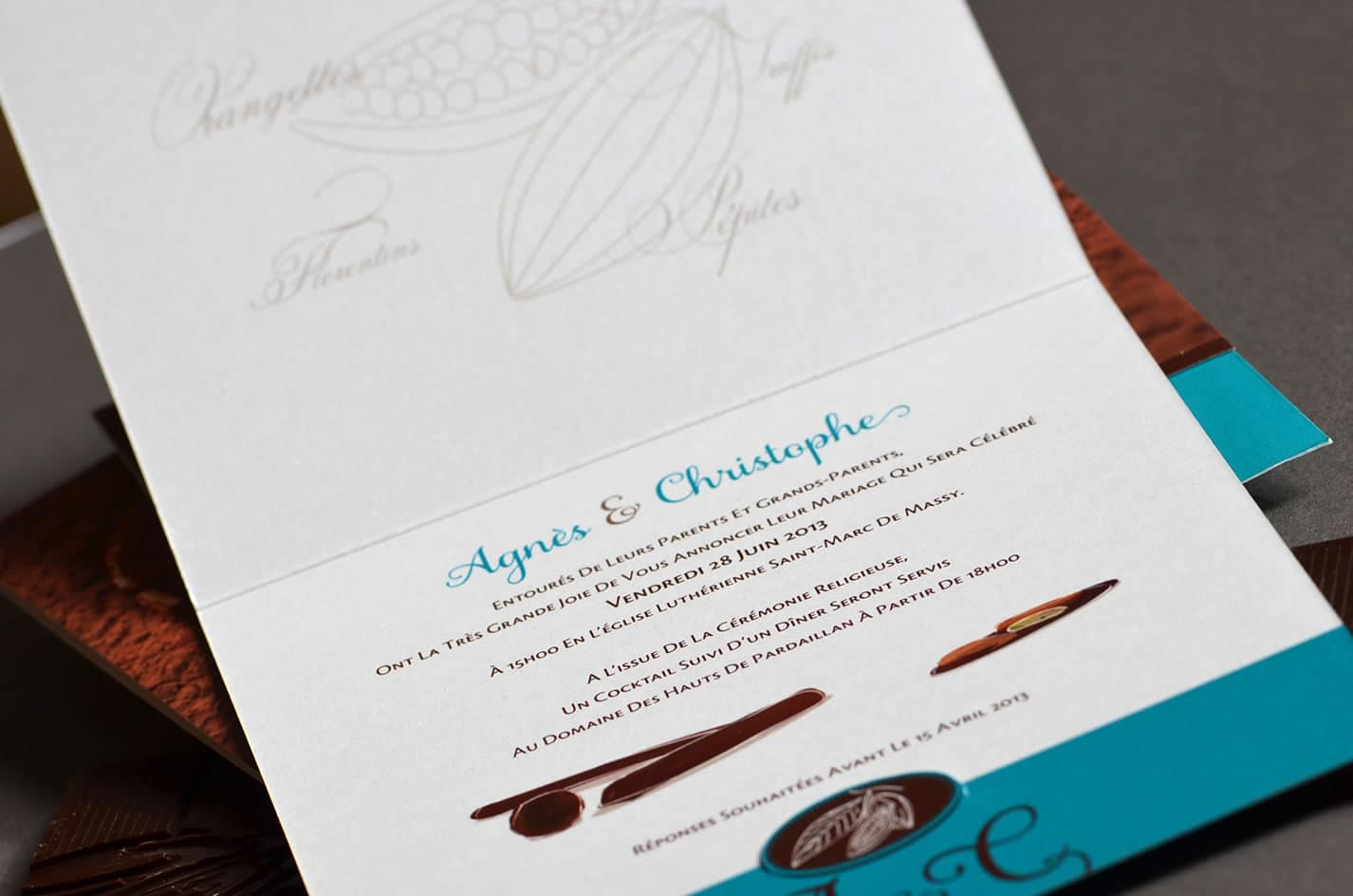 Faire part mariage passion chocolat latelierdelsa