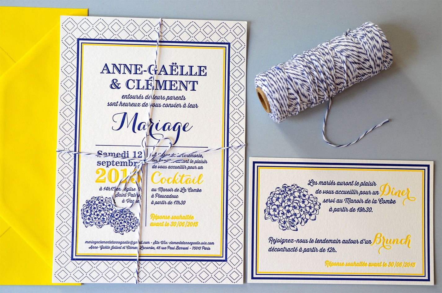 Faire part letterpress mariage original latelierdelsa