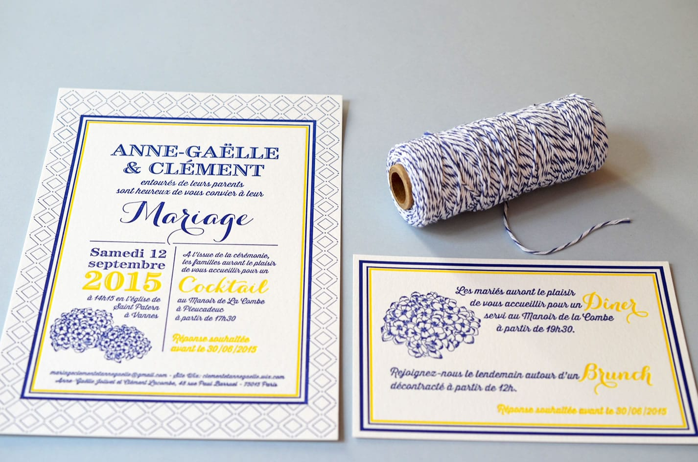 Faire part sur mesure bretagne letterpress horthensia latelierdelsa