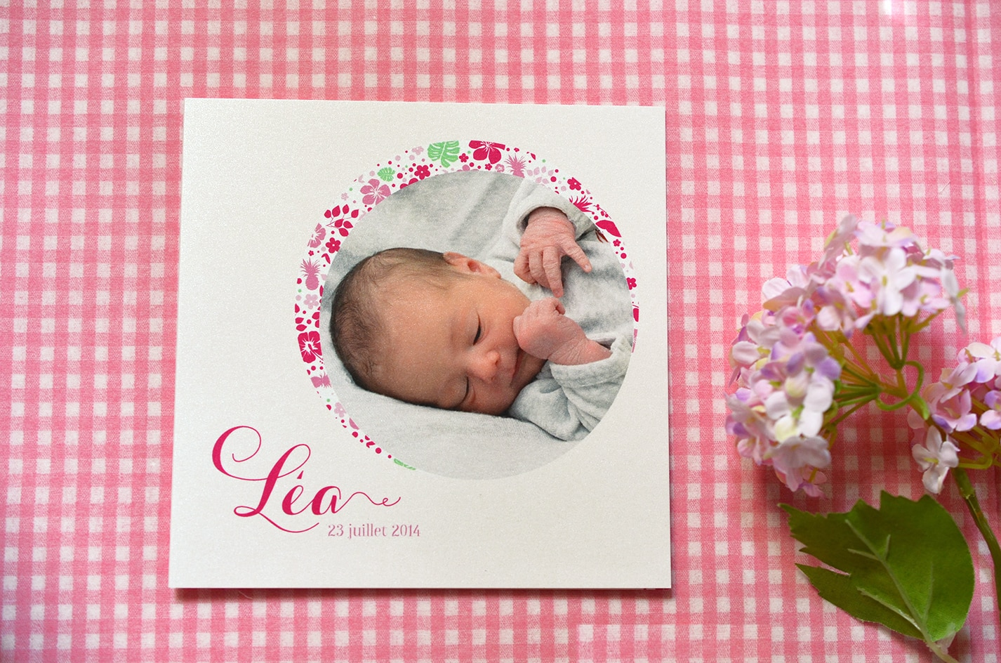Faire part fille photo naissance sur mesure rose liberty latelierdelsa