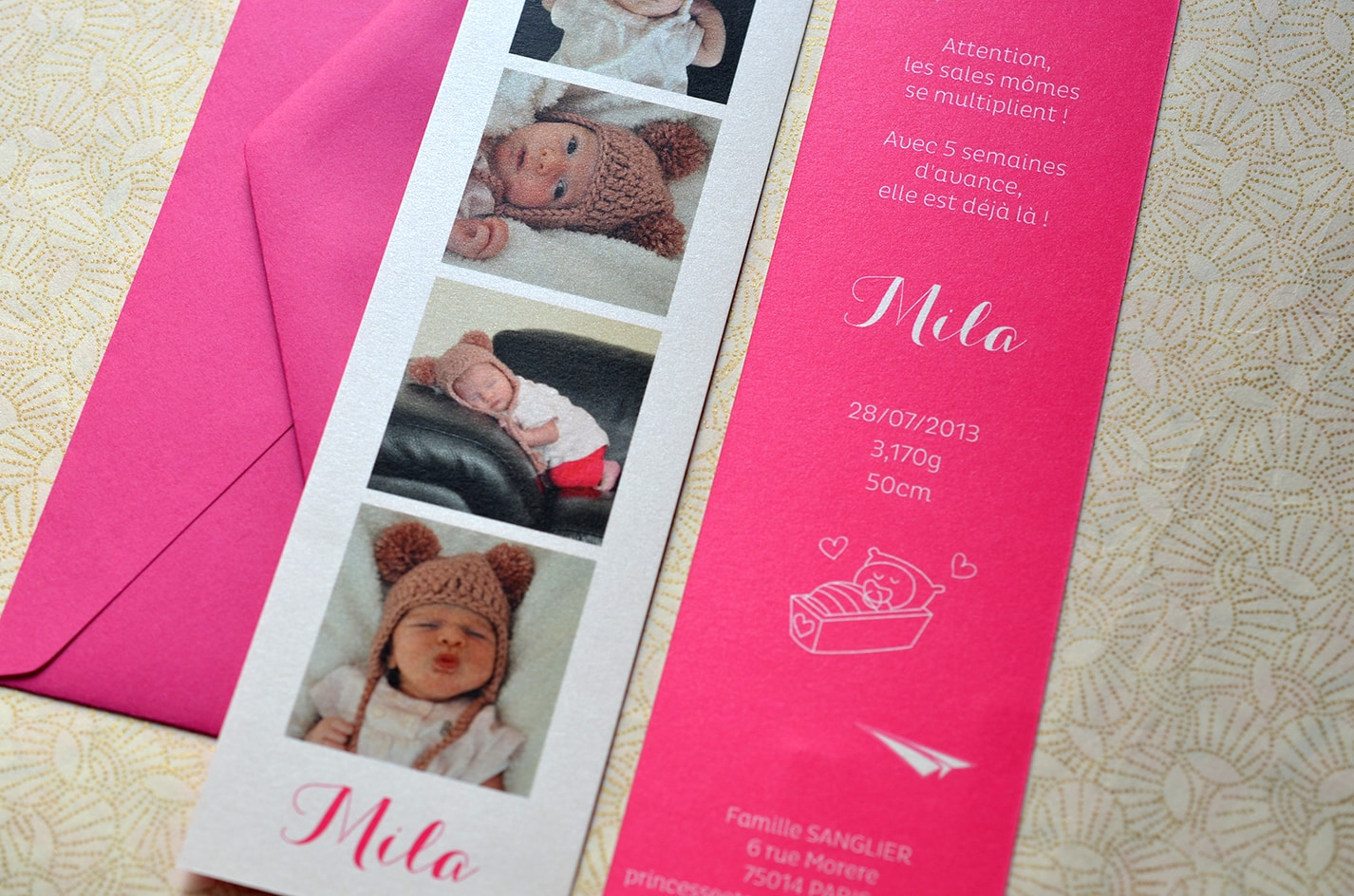 Faire part fille rose photo naissance sur mesure latelierdelsa