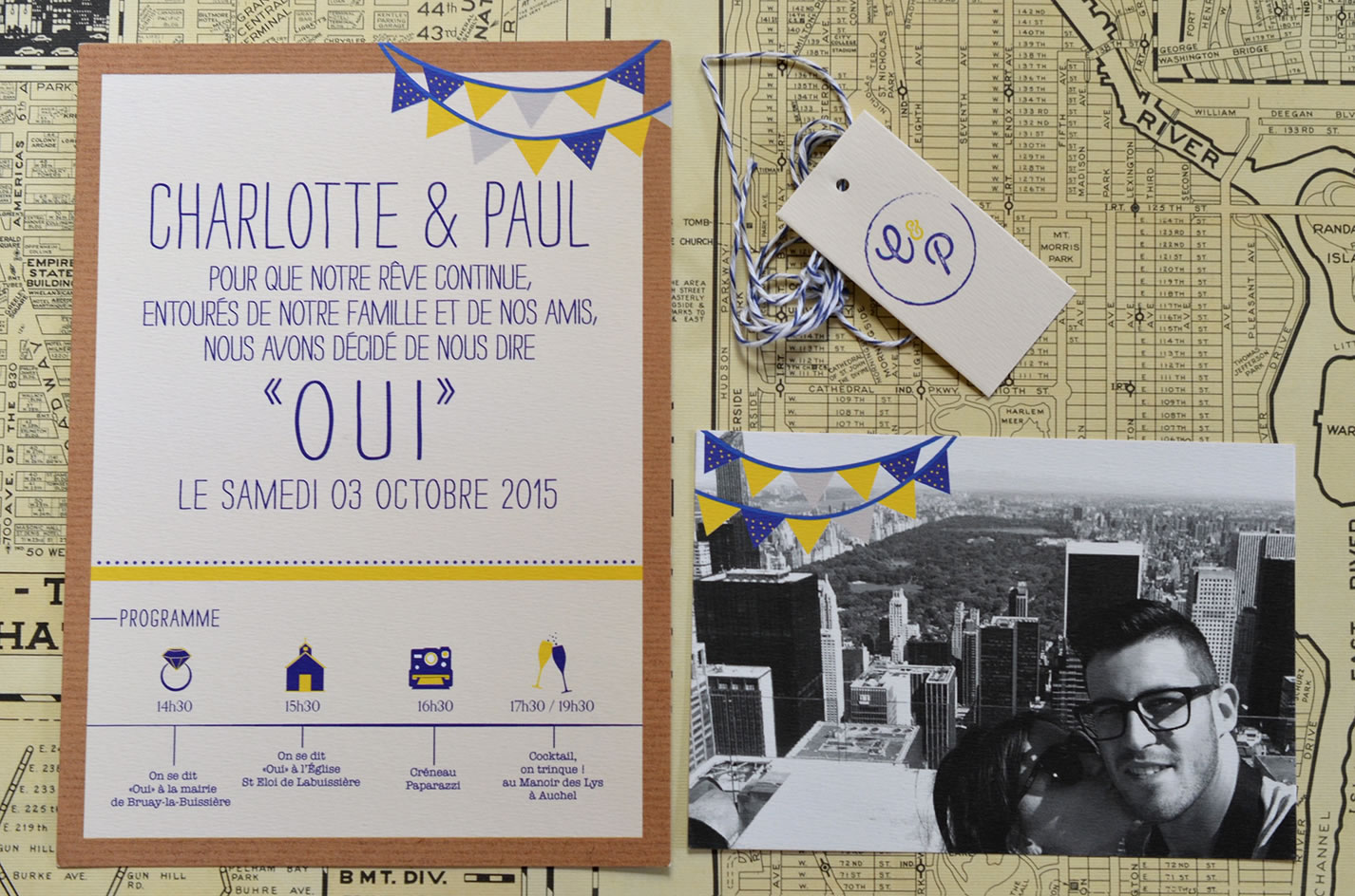 Faire part mariage photo sur mesure new york vintage latelierdelsa