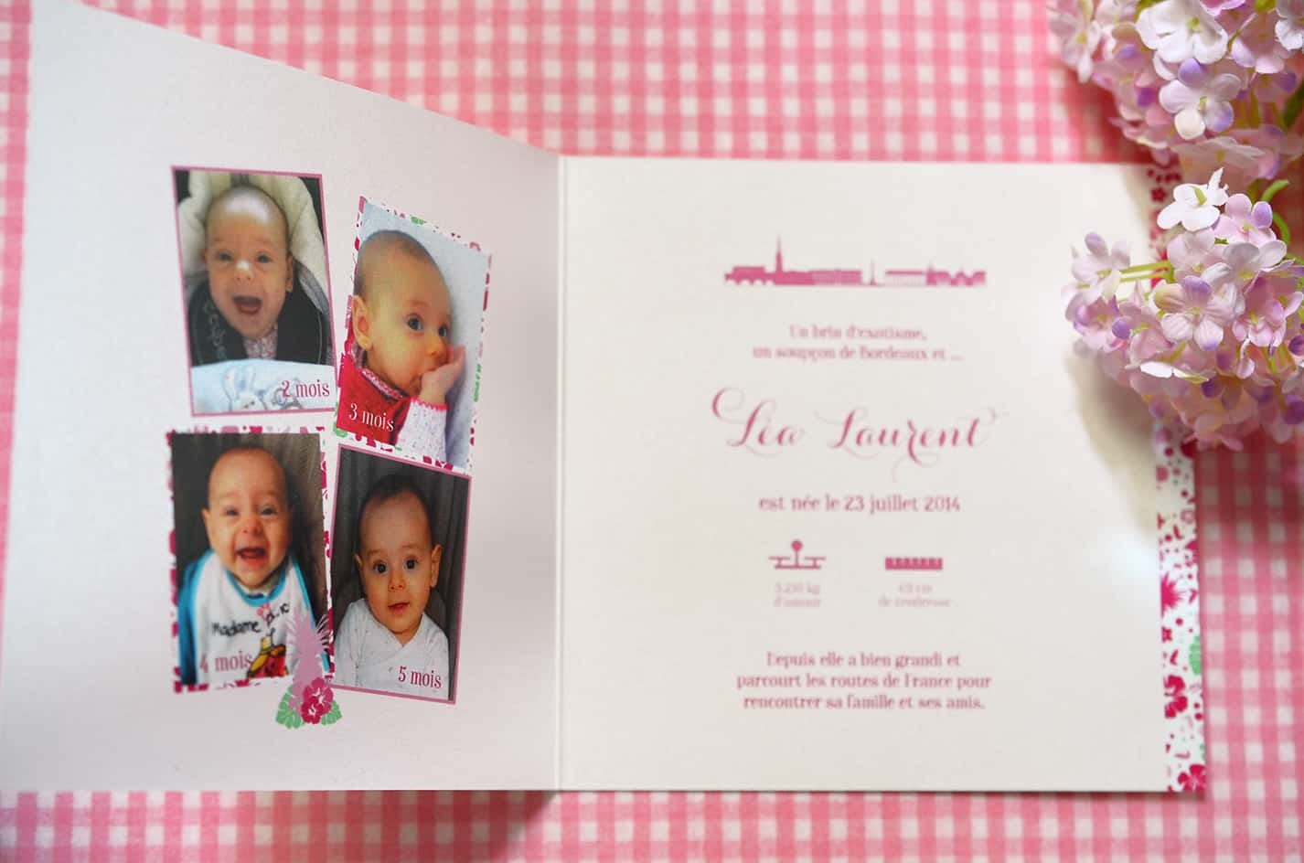 Faire part naissance fille photo sur mesure rose liberty latelierdelsa