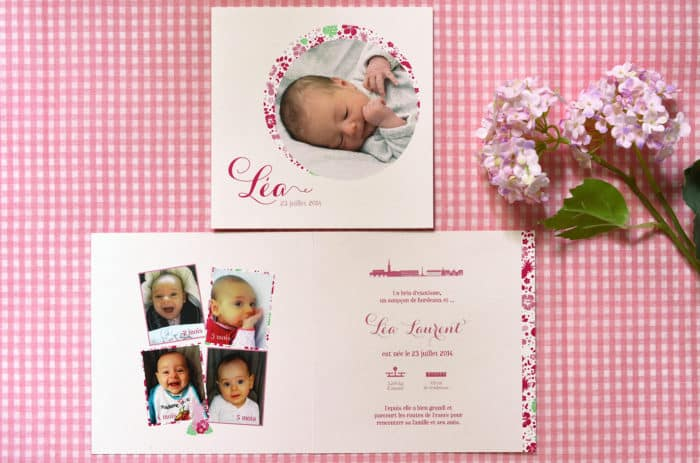 Faire part naissance sur mesure rose liberty fille photo latelierdelsa