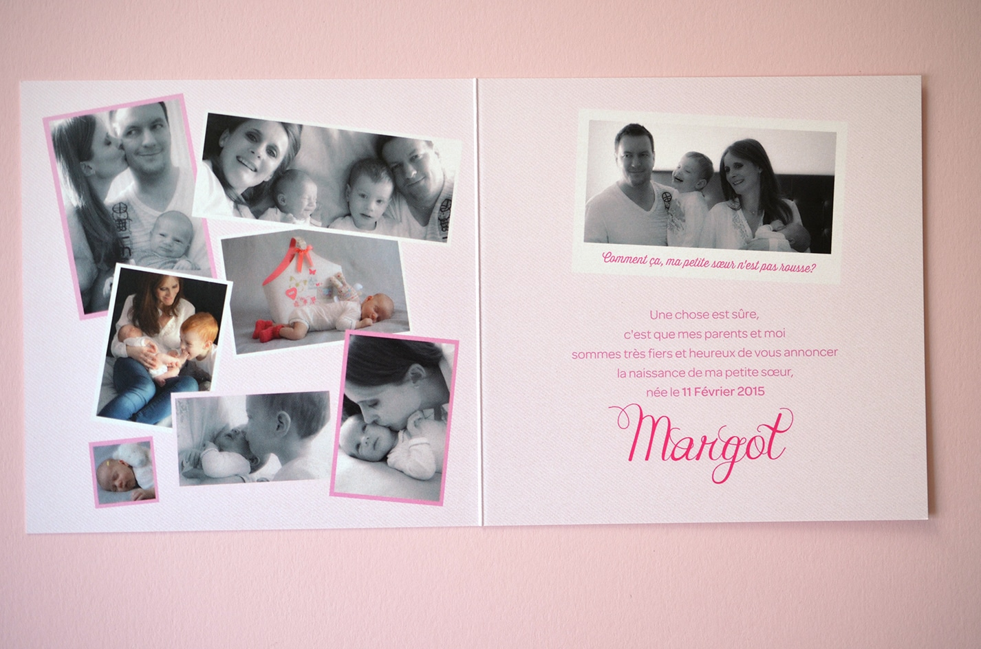 Faire part photo pele mele naissance sur mesure fille rose latelierdelsa