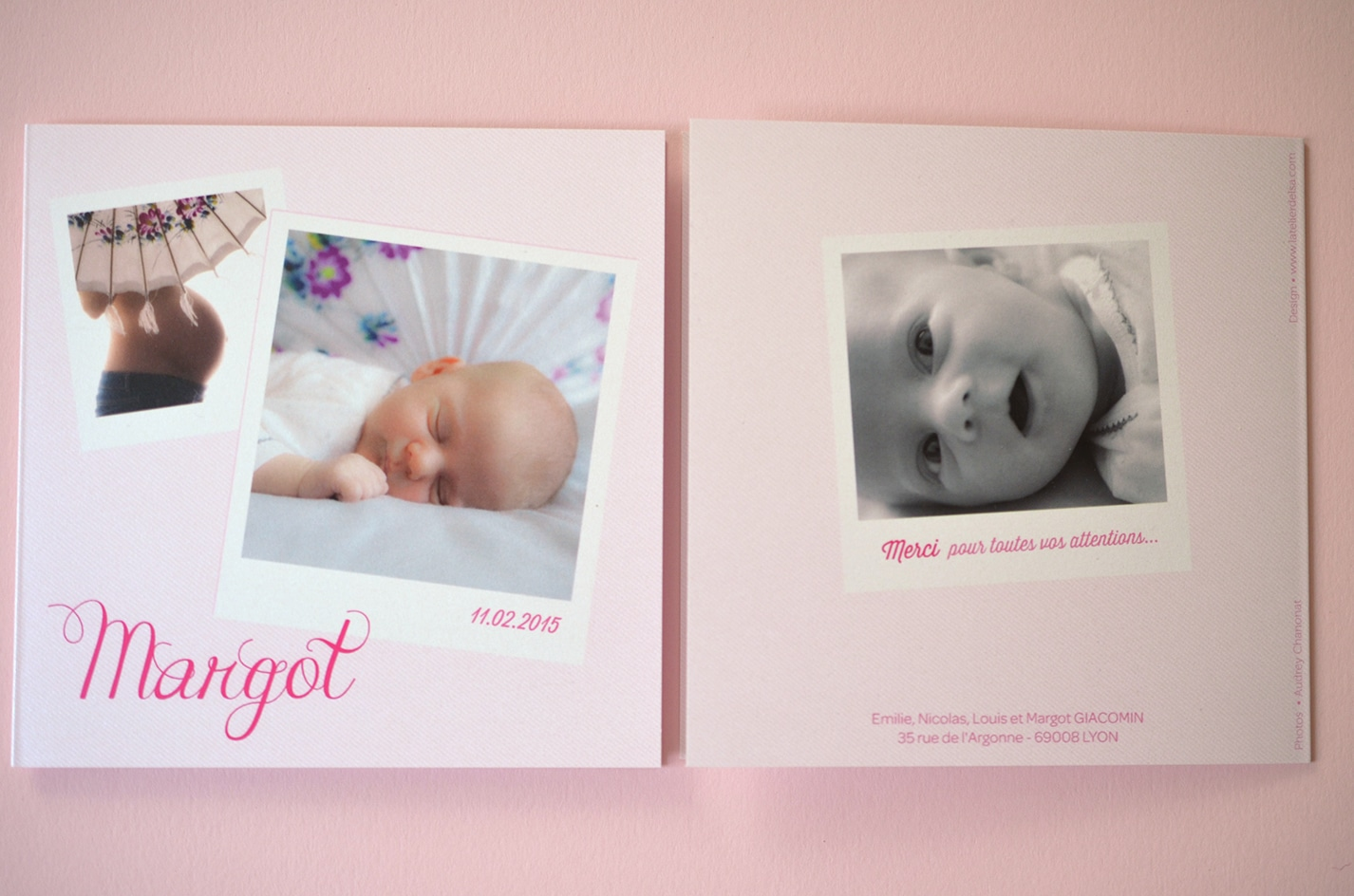 Faire part rose naissance sur mesure fille photo latelierdelsa