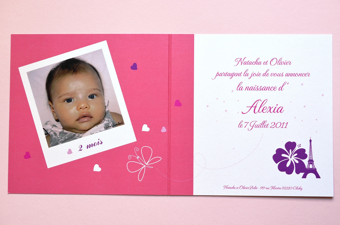 Faire part sur mesure naissance fille photo mixte latelierdelsa
