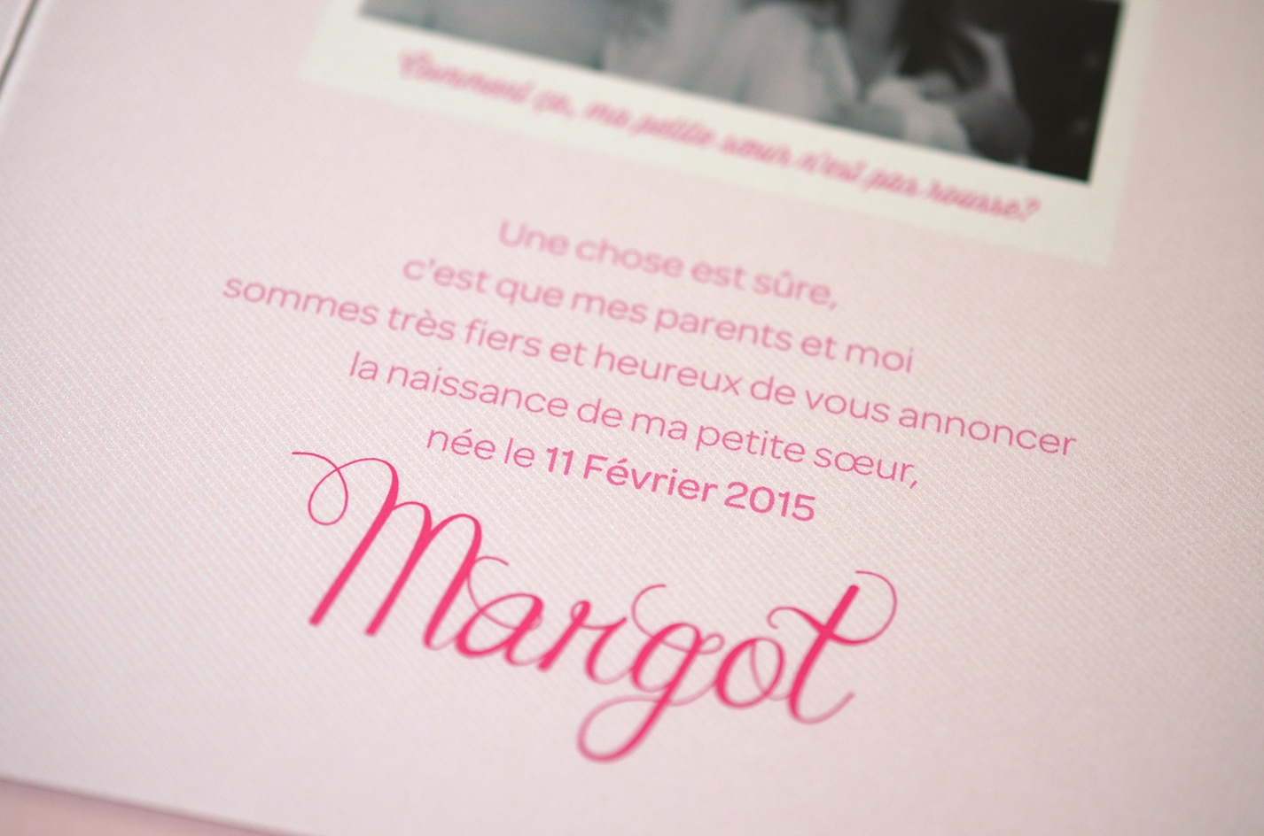 Faire part sur mesure naissance fille photo rose latelierdelsa