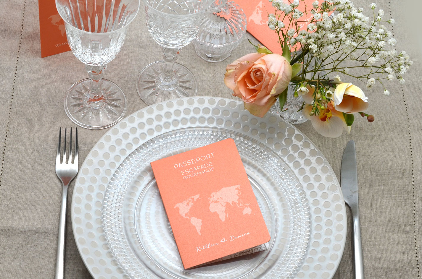 Menu mariage passeport marque place mariage - Marque place mariage champetre ...