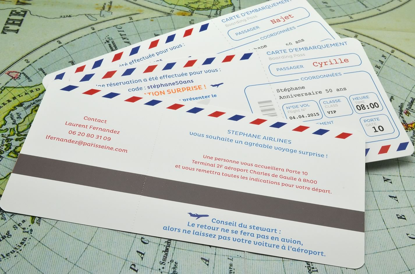 Carte anniversaire 50 ans billet d avion latelier delsa faire part invitation anniversaire surprise billet avion air lines voyage sur mesure 50 ans voyage latelierdelsa stopboris Image collections