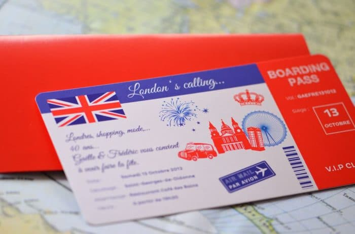 Invitation sur mesure anniversaire londres 40 ans shopping billet voyage train latelierdelsa