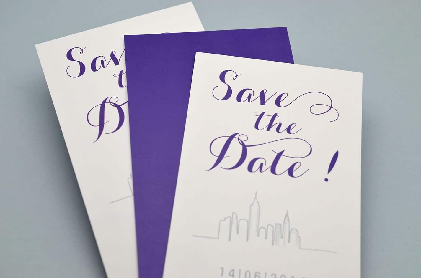 Save the date mariage new york design violet skyline sur mesure voyage latelierdelsa