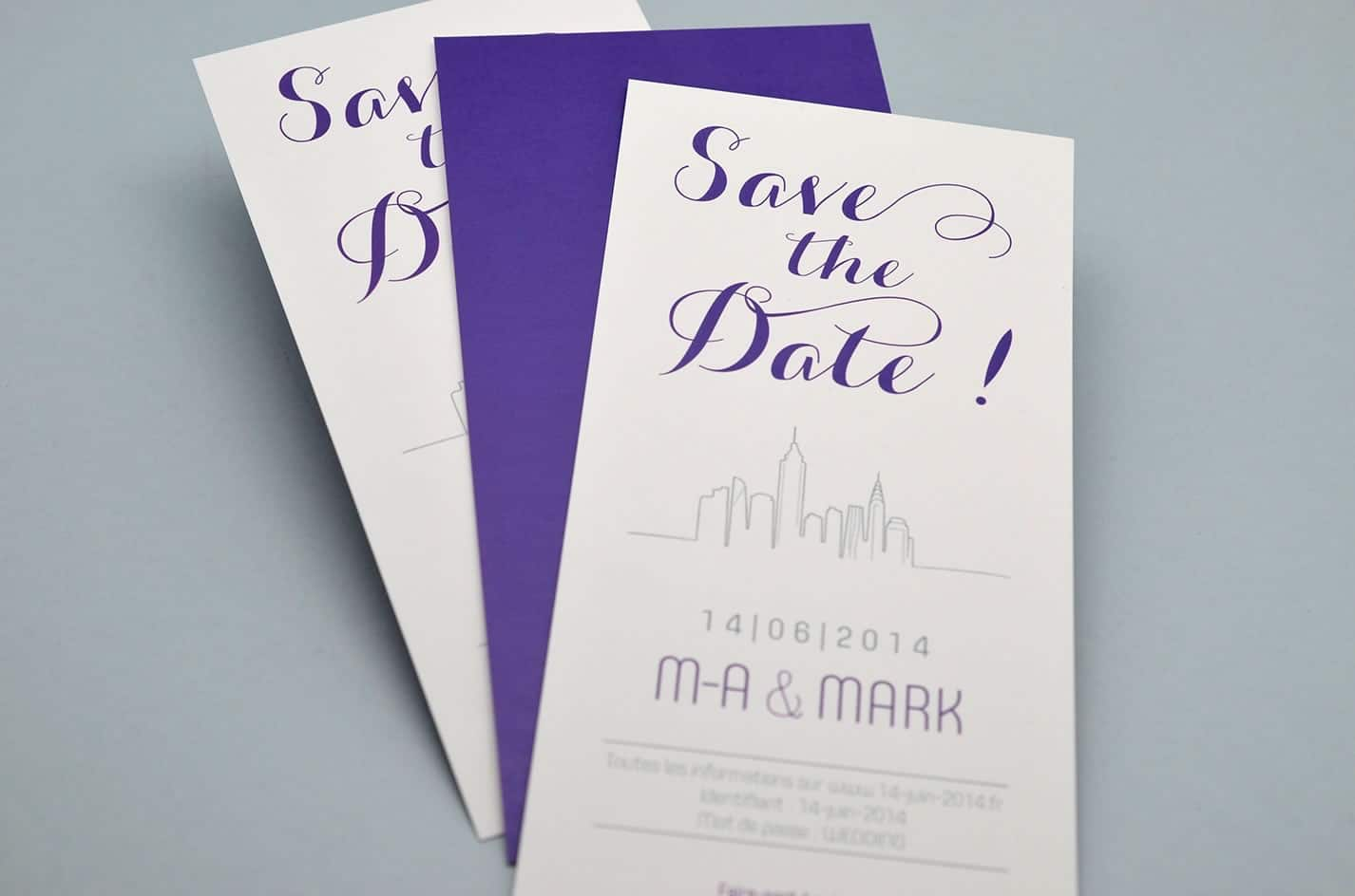 Save the date mariage sur mesure new york design violet skyline voyage latelierdelsa