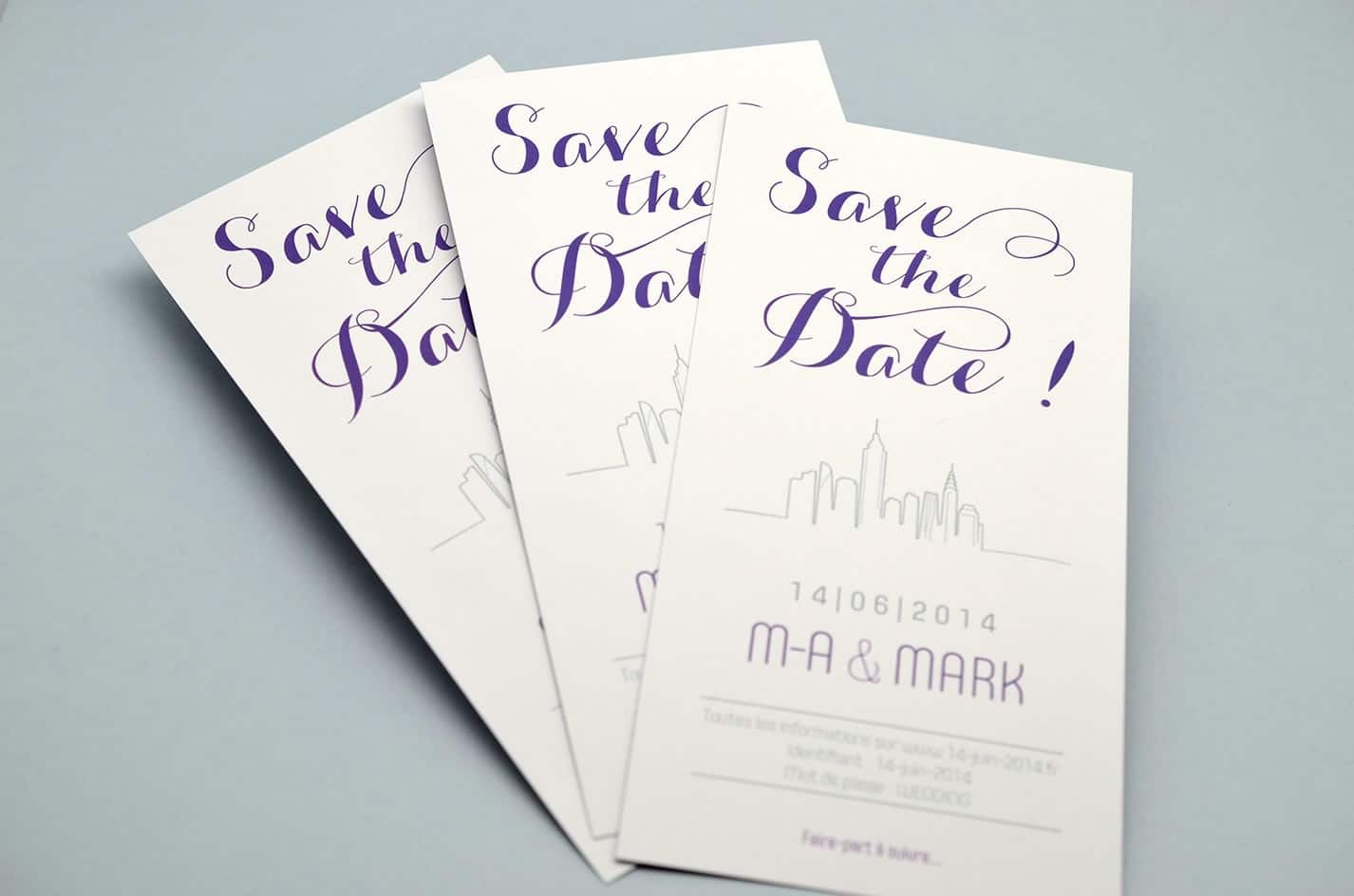 Save the date new york design violet skyline mariage sur mesure latelierdelsa