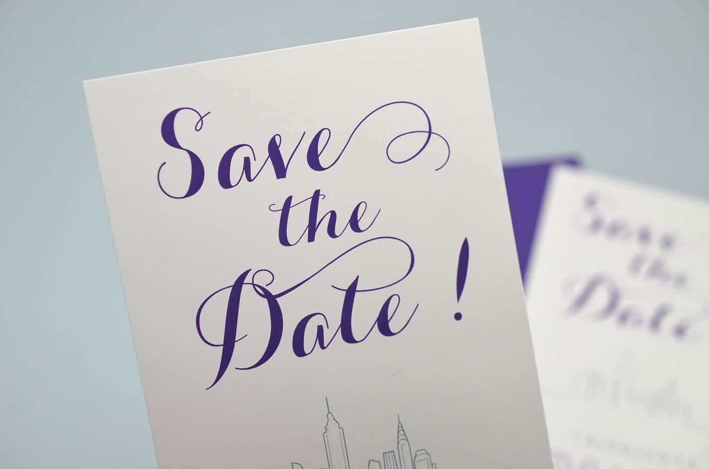 Save the date sur mesure mariage new york design violet skyline latelierdelsa