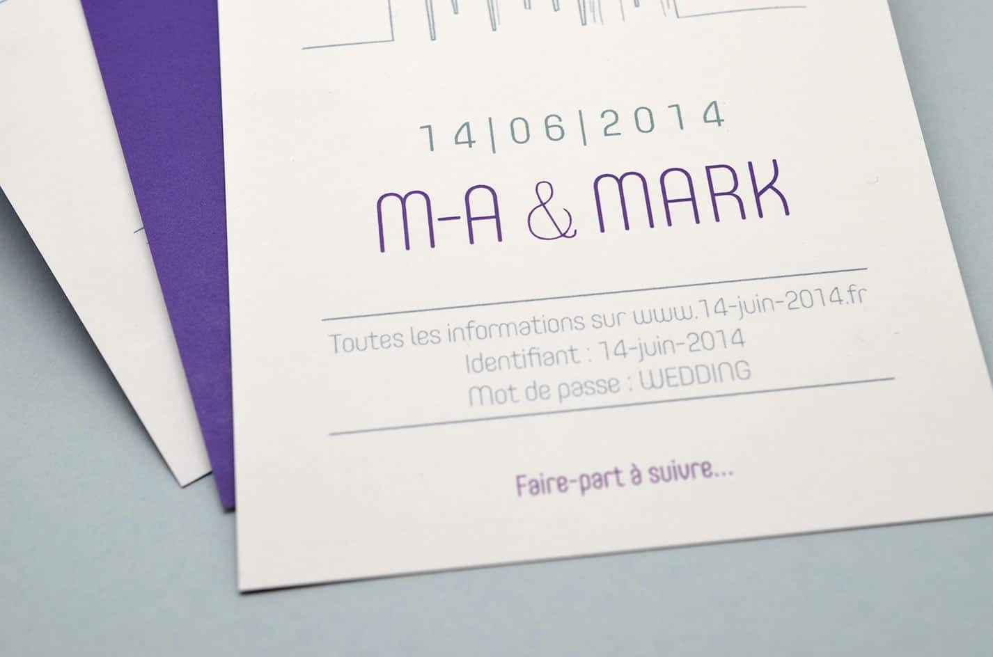 Save the date voyage mariage sur mesure new york design violet skyline latelierdelsa