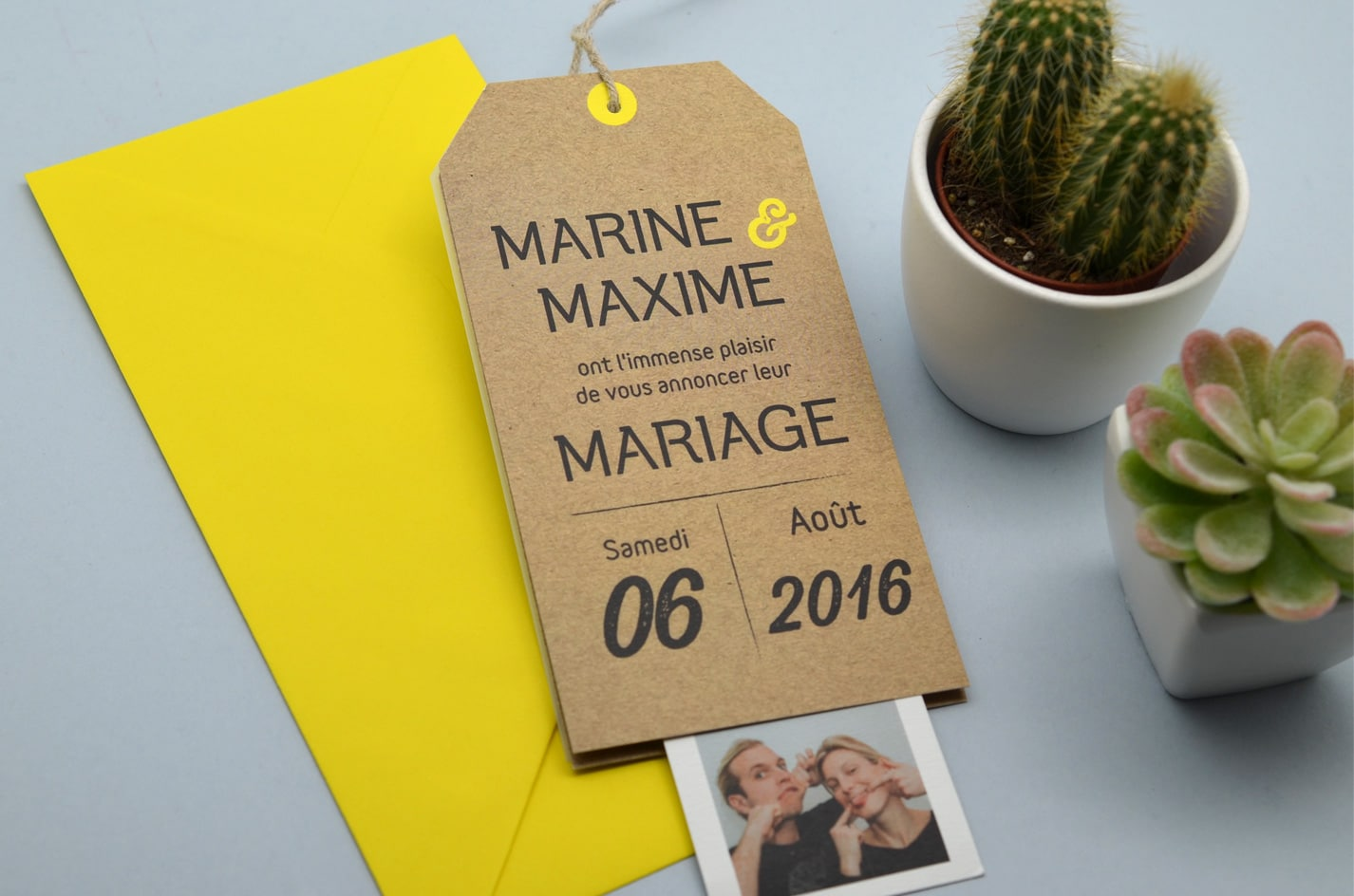 Faire-part mariage kraft vintage photomaton latelierdelsa
