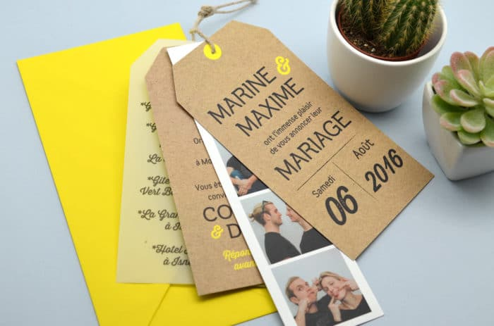 Faire-part Photomaton Kraft Vintage, Faire-part mariage sur mesure Latelierdelsa
