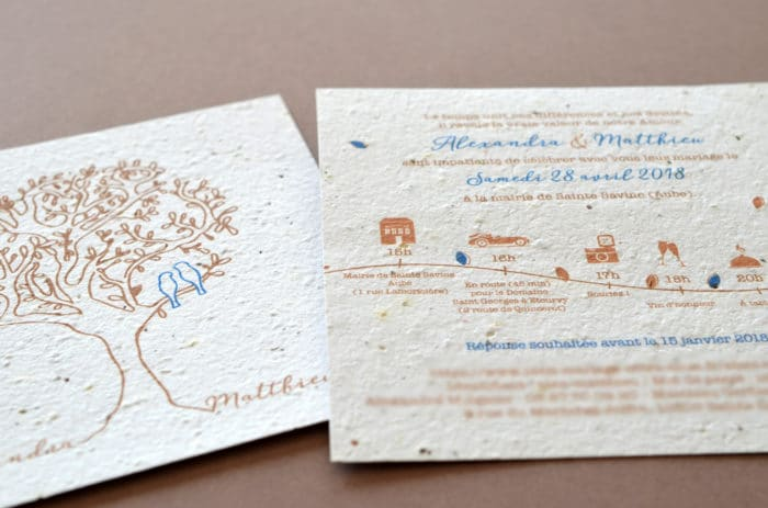Faire part mariage sur mesure papier ensemence a planter bio ecolo growing paper arbre, terre latelierdelsa