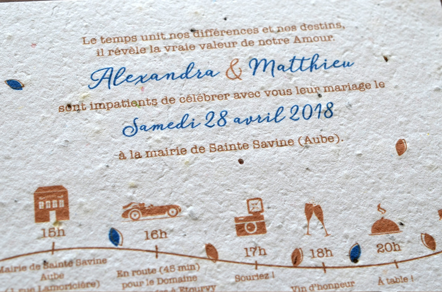 Faire part sur mesure mariage papier ensemence a planter bio ecolo growing paper latelierdelsa